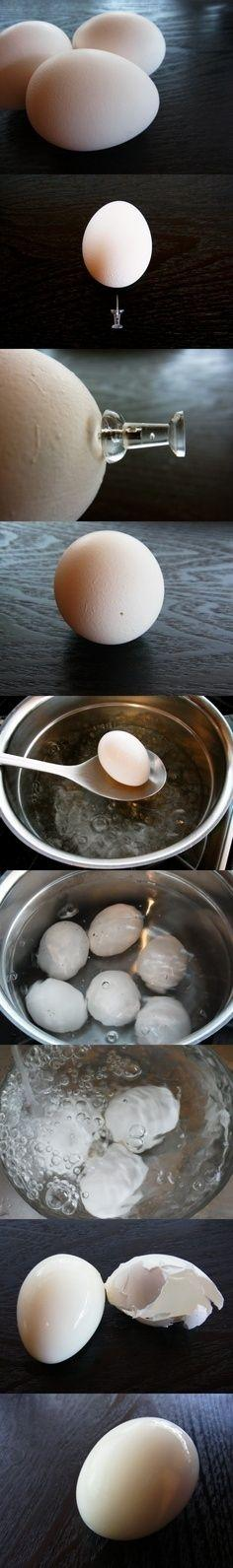 Use a Thumb Tac for the Perfect Boiled Egg   Community Post: 34 Creative Kitchen Hacks That Every Cook Should Know: Hard Boiled, Kitchen Hacks, Idea, Boil Egg, Boiled Eggs, Cooking Tips, Perfect Boiled, Food Hacks, Food Tips