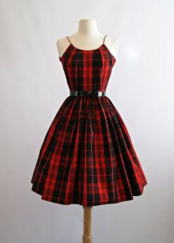Vintage 1950s Red Plaid Party Dress  50s Red Full by xtabayvintage: Vintage Holiday Dress, Party Dresses, 1950S Red, Vintage Christmas Dress, Vintage Party Dress, Vintage Fashion, Red Plaid Dress, Plaid Party, Tartan Dress
