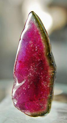 Watermelon Tourmaline, pink and green mineral gem stone: Gemstones, Precious Stones, Gems Minerals, Gem Stones, Nature, Crystals Stones, Gems Stones, Watermelon Tourmaline, Rocks