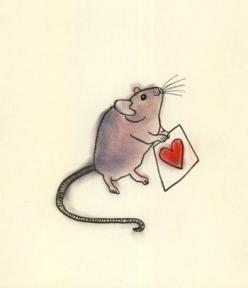 week 3.4 smudgey look. :) Mouse art -4 for 3 SALE  A Little Love -  4 X 6 print. $7.00, via Etsy.: Mice, Mouse Heart, Etsy, Valentine, Drawing, Heart Card, Heart Mouse, Animal