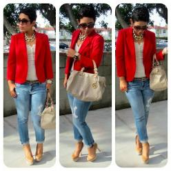 Work outfit, casual Friday!: Boyfriend Jeans, Mimi G, Fashion, Casual, Outfit, Styles, Blazers, Red Blazer, Morning