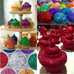 You won't be able to resist these Glitterbomb Cupcakes and they are pretty as a picture!: C Cupcakes, Recipe, Glitter Bomb Cupcakes, Cakes Cupcakes, Glittered Cupcakes, Edible Glitter Cupcakes, Cupcakes Bars Pie S Cookies, Glitterbomb Cupcakes Must