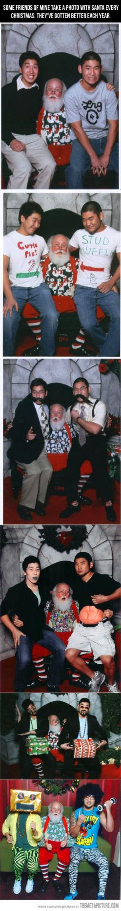A yearly tradition. . .taking a photo with Santa. Love their creativity- plus I'm pretty sure this is the Santa at Alderwood Mall in Lynnwood, WA!: Santa Hahaha, Santa Awesome, Best Friends, Crazy Photos, Funny Stuff, Santa Pictures, Christmas Photos