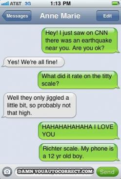 funny auto-correct texts - The 15 Funniest Autocorrects From December 2011: Funny Texts, Giggle, Titty Scale, Funny Stuff, Text Messages, Auto Correct, Funnies, Autocorrect Fail