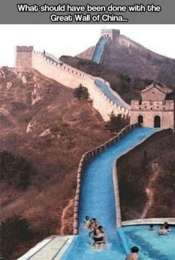 I know this is on my funny board, I just didn't know where else to put it...  But Seriously!  We still have time! PLEASE!: Idea, Water Slides, Funny, Place, Wall, China