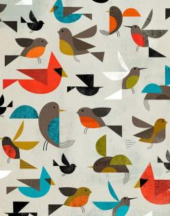 kids are always asking how to draw birds.  I like the simple shapes used in these and I like all the different positions they're in.: Charley Harper, Patterns, Illustrations, Dante Terzigni, Birds, Design