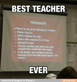 One of the only reasons I'd teach high school would be that they would get my sense of humor.  I'd love to do this!: Best Teacher Ever, Awesome Teacher, My Life, Funny Stuff, High School Teachers, Homework That S, Teacher Humor, High Schools