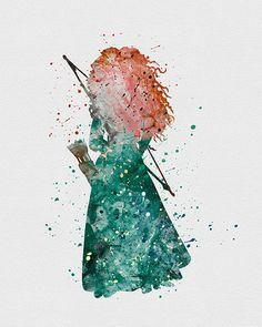 Princess Merida Brave Watercolor Art - VIVIDEDITIONS: Disney Princess Watercolor Art, Princess Merida, Brave Watercolor, Disney Princesses, Watercolors, Watercolor Princess, Brave Merida Art, Merida Brave, Disney Watercolor
