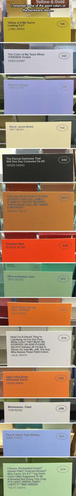 Guy Renames Paint At A Local Hardware Store And It's Hilarious! – 14 Pics: