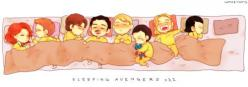Hawkeye is holding Black Widow's hair, Tony has a taped on mustache, Coulson has moved over to sleep next to Cap.  Thor is snoring and driving Loki crazy.  So so so cute!! Steve and Tony are next to each other! ♥♥: Baby Avengers, Avengers Assemble, Th