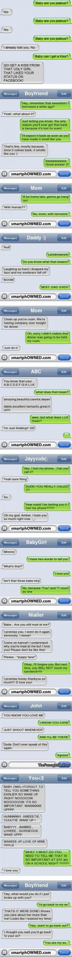 Some of these are really cute. All funny: Texting Funnies, Txt Message, Funny Messages, Funny Txt, Text Messages Funny, Funny Text Messages, Funny Stuff, Funny Relationship Quotes, Funny Texts Messages