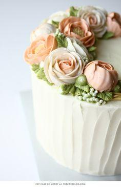 10 Flower Cakes for Spring | including this all-buttercream design by Eat Cake Be Merry | on TheCakeBlog.com