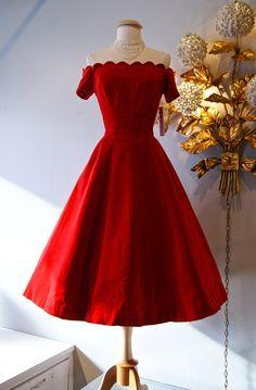 1950's Dress // Vintage 50's Red Velvet by xtabayvintage on Etsy, $248.00