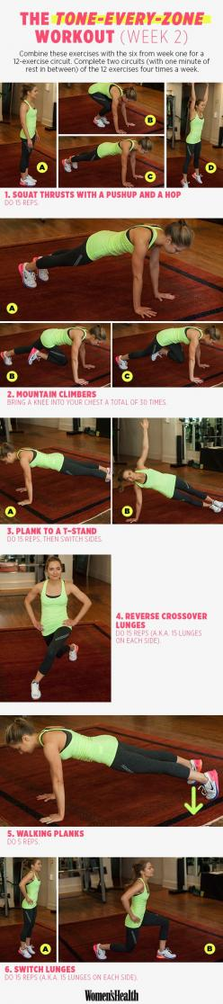 6 Moves for Total-Body Toning WEEK 2 - Our four-week training plan with celeb trainer David Kirsch kicks off today! Meet the first week of strength-training exercises here. | Women's Health Magazine #fitness #workout #health: Workout Health, 2 S Worko