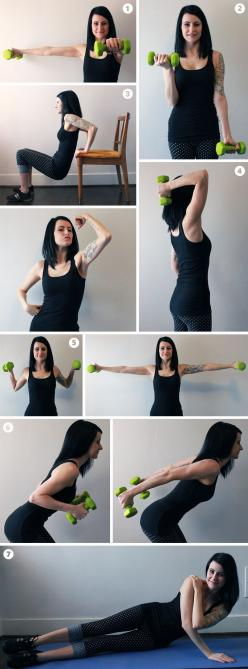 9 Exercises for Aerial Arms: WTF? Pushing small weights will give you arms that look like you pull your body weight? I ain't buying it.: Arm Exercises, Exercise Weightloss, Fitness Exercises, Aerial Silk, Aerial Arms, Body Weights, Arms Fitness, Arm W