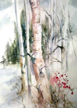 A watercolor of birch woods early winter by DHammond---Mellow color sheme  great for apartments lofts studio art: Watercolor Art, Art Watercolors, Iphone Wallpaper, A8 Art Trees, 724 1 008 Pixels, Beautiful Watercolors, Watercolor Birch Trees, Watercolor