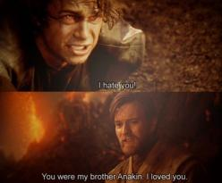 *Anakin Skywalker and Obi Wan Kenobi* ......      Most tragic part of the entire trilogy!! :'(: Star Wars Anakin Skywalker, Movie, Stars Wars, Force, Brother, Hayden Christensen Star Wars, Starwars, Galaxy
