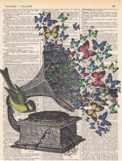Butterflies.Bird.Music.Gramophone.Collage.Fantasy.Antique Book Page.handmade gift.home deco.vintage,retro.french.mixed media.art.nursery: Books Drawings, Collage Artwork, Book Art, Music Tattoo, Butterfly Art Drawing, Music Art Drawing, Drawing