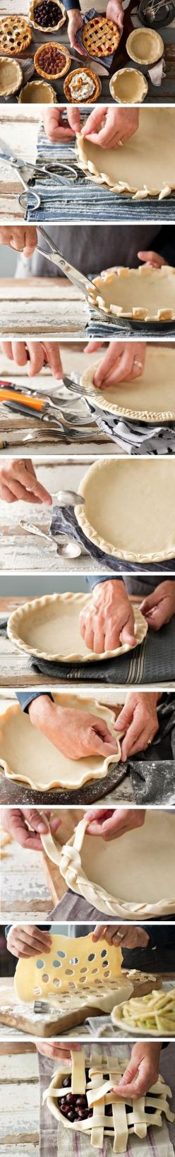 Creative Pie Crusts -- I always need advice on fluting and other pie crust decoration. I'm pretty miserable at it.: Crust Designs, Pie Crusts, Creative Pie, Feet, Pie Crust Design, Crust How To, Creative Crust