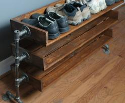 Definitely want this!  Handmade Reclaimed Wood Shoe Stand with Pipe Stand Legs on Etsy, $170.00: Stand Legs, Handmade Reclaimed, Reclaimed Wood, Diy Shoe Rack, Shoe Racks, Shoe Stand