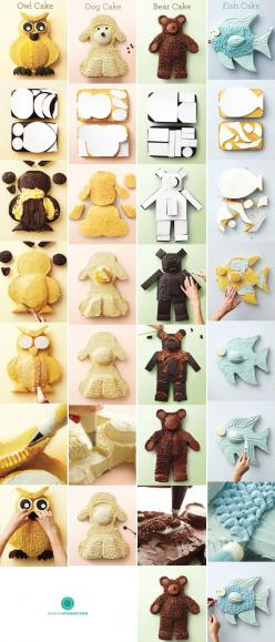 DIY Instructions for Cakes. I  can see the sheep cake also being a doggy cake! perfect!: Diy Birthday Cake, Sheep Cake, Fish Shaped Cake, Owl Cake, Diy Instructions, Diy Cake Shape, Animal Cake, Animal Shaped Cake, Dog Shaped Cake