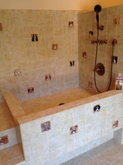 Dog bath-built in stairs and elevated bath for doggie comfort & easy washing: Tub Idea, Pets Ideas, Tile, Dog Shower, Groomshop, Dogbath
