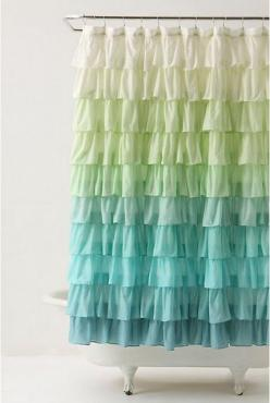 Flamenco Shower Curtain from Anthropologie ~~ I like this for a photography back drop.: Showers, Ideas, Ruffle, Color, Shower Curtains, Showercurtains, Bathroom, Diy, Flamenco Shower