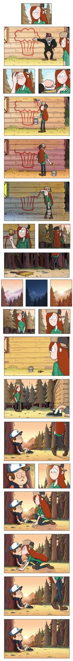 I can imagine Mabel coming out of behind the trees and laughing. And she has paint all over her. ;): Gravity Falls Mabel And Dipper, Gravity Falls Comics, Gravity Falls Ships, Wendip Gravity Falls, Gravity Falls Dipper And Wendy, Cute Gravity Falls, Gravi