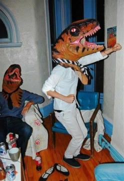 "I don't know why but this makes me laugh, and think ""that looks like it was a fun night"": Party Animals, Dino Party, Party'S, Parties, Funny, Dinosaur Party, Party Idea, Dinosaurs"