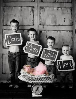 I have a feeling I'm going to end up with 3 or 4 boys and then my last will be a girl. If so I am totally taking a picture like this!: Photos, Photoidea, Photo Ideas, Big Brothers, Baby Girl, Kids, Photography, Picture Ideas