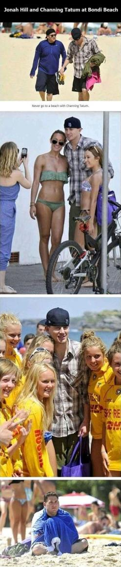 I laughed to hard at this.: Beaches, Funny Pictures, Channing Tatum, Funny Stuff, Jonah Hill, The Beach, Bring Channing, Poor Jonah