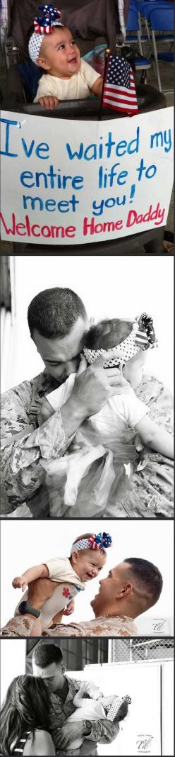 if this doesnt make ya smile, then i dont know what will. thank you to all the troops who miss time with thier familes to protect us! God bless them: Military Homecoming, Hero, Father Coming, Coming Home, Soldier Homecoming, Baby, Soldiers Homecoming, Mil