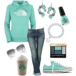 It's a hoodie... It should not require this much thought, prep, or planning. Nor does it require earrings or makeup. Also, Starbucks is not an accessory.: Outfits, Fashion, North Faces, Style, Clothes, Color, Dream Closet, Tiffany Blue, Northface