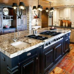 kitchen with black rustic cabinets | Colorado Rustic Design with black and white distressed painted wood ...: Painted Wood, Dream House, Rustic Kitchens, Black Rustic, Kitchen Ideas, Kitchen Islands, Kitchen Designs