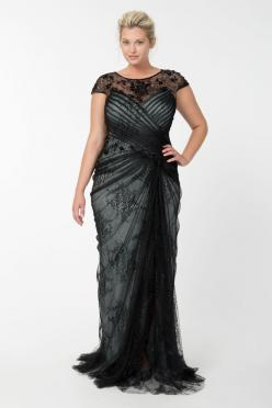 Lace and Draped Tulle Gown in Black / Marble | Tadashi Shoji Fall / Holiday Plus Size Collection: Plussize, Plus Size, Dress, Black Marble, Gowns, Tadashi Shoji, Tulle Gown