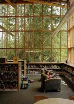 Library and Nature...oh how much I would love to have this room! Just imagine it raining...: Interior, Home Libraries, Window, Book, House, Place, Space, Reading Room
