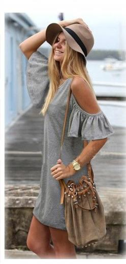 Love this Boho Chic Style! Awesome Design! Hat + Purse + Off-shoulder Dress Grey Plain Short Sleeve Cotton Blend Shift Dress: Boho Chic, Style, Cotton Blend, Sleeve Cotton, Shift Dresses, Short Sleeve, Grey Plain, Plain Short