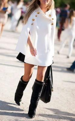 Love this outfit. I would so get made fun of for trying to hard. ummmm hmmmm Yes: Fashion, Winter, Capes, Street Style, Outfit, Styles, Coat, Givenchy Boot