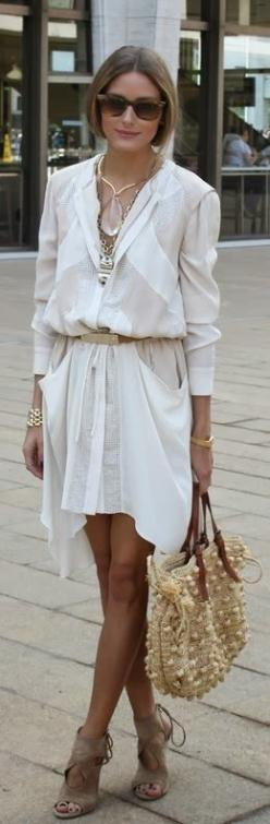 Olivia Palermo shirt dress.....love everything about this. Shoes, necklace, colors, legs... especially.: Oliviapalermo, Inspiration, Dress, Fashion Week, Street Style, Outfit, Olivia Palermo