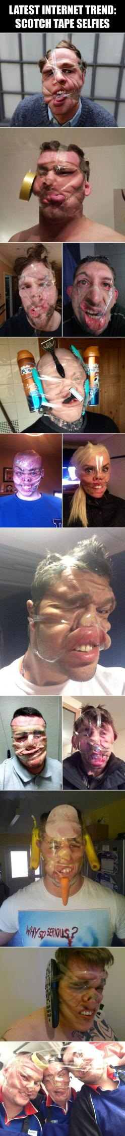 omg these are horrible!: Giggle, Tape Selfies, Funnies, Stupid Selfie, So Funny, Sleeping At Work Funny, Scotch Tape, Cant Sleep Funny