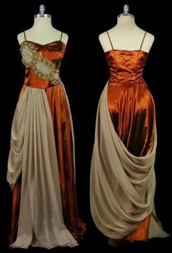 Orange-brown satin evening gown with beige silk chiffon draping and jeweled gold trim, c. 1930's. Via TheFrock.com.: Fashion History, Vintage Fashion, Dresses, 1930 S Fashion, Vintage Dress, Costume, 1930S Dress