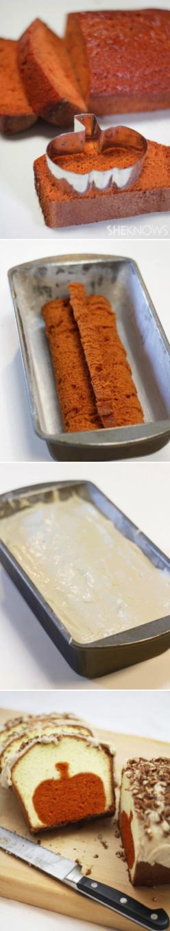 Peekaboo pumpkin pound cake.  Use a Christmas Tree cookie cutter or star cutter for Christmas.: Idea, Fall Food, Pumpkin Bread, Pumpkin Cake, Cookie Cutters, Pound Cake, Dessert