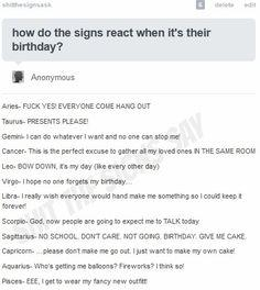 SHIT THE SIGNS SAY. How the signs react when it's their birthday.