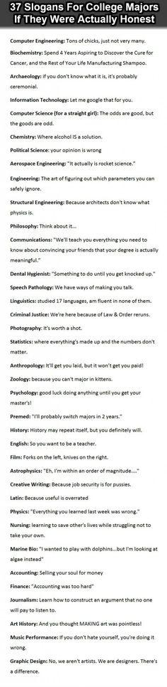 Slogans For College Majors… these are too true