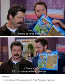 Sometimes I'm Ron, sometimes I'm Andy, there's no in between.: Parks And Recreation, Andy Dwyer, Ron Swanson, Chris Pratt, Funny Stuff, Funnies, Things