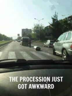 that awkward moment when your dearly departed's coffin falls into oncoming traffic...: Funny Things, Awkward Moments, Fail, Funeral, Funny Stuff, Humor, Funnies, One Job