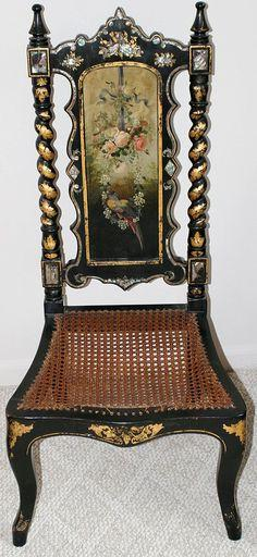 Victorian Mother Of Pearl Floral And Bird Painted Chair