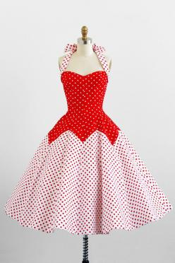 vintage rockabilly dress / 1950s dress / Victor Costa 50s Style Red and White Polkadot Dress: Fashion, Polka Dots, Style, 1950S Dresses, Vintage Dresses, 1950 S, Polkadots