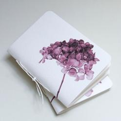 Watercolor hydrangea notebooks by Pumpkinsputnik Papergoods... inspiration.... would be simple to make my own mini w.c. journals out of larger sheets of w.c. paper: Journal Watercolors, Hydrangea Watercolor, Hydrangea Notebooks, Watercolor Hydrangea, Mini