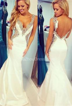 White 2015 Straps Mermaid Sequins Crystal Sweep Train Taffeta Evening Gowns,2015 White Prom Dress Backless Long Mermaid Straps Beaded Bodice Sequins Prom Dresses: Wedding Dress, Mermaid Prom Dress, Prom Dresses, Sequin Prom Dress, White Prom Dress